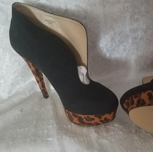 c21f6fd78f1c Black and Leopard shoe boots 4 inch heels